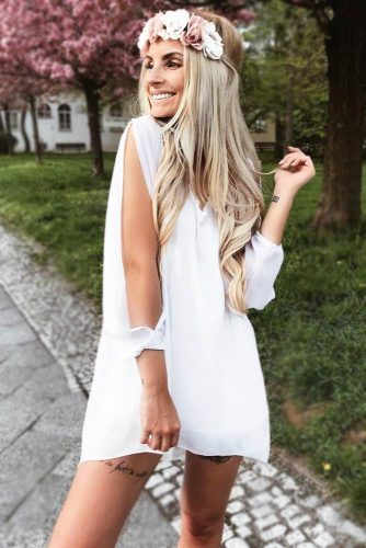 Slit-Sleeve Light Dress With Flowered Band #outfits #blondehair