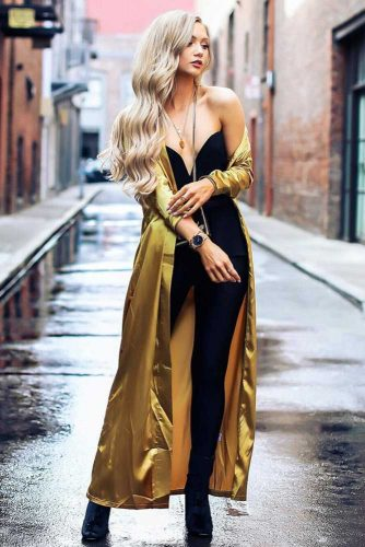 Jumpsuit With A Silky Tunic Long Blonde Waves #outfits #wavyhair