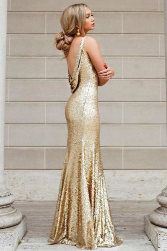 Gold And Sparkling Backless Dress #outfits #updo
