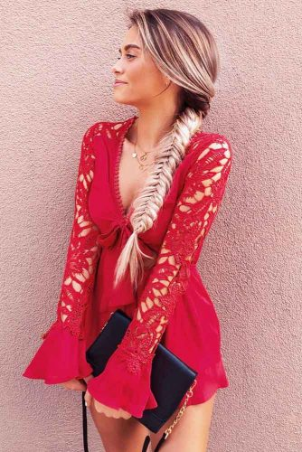 Short Red Sleeve Dress With Side Fishtail Braid #outfits #braids