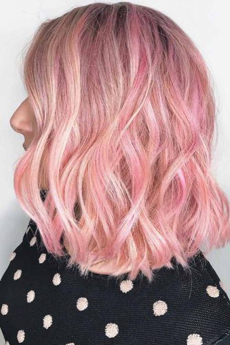 Pink Highlights With Dark Roots #pinkhair #highlights