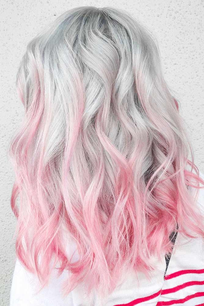 Grey Hair With Pink Ends #pinkhair #ombre