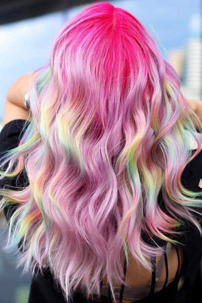 Fuchsia With Pastel Pink Holographic Ombre #pinkhair #pastelpinkhair