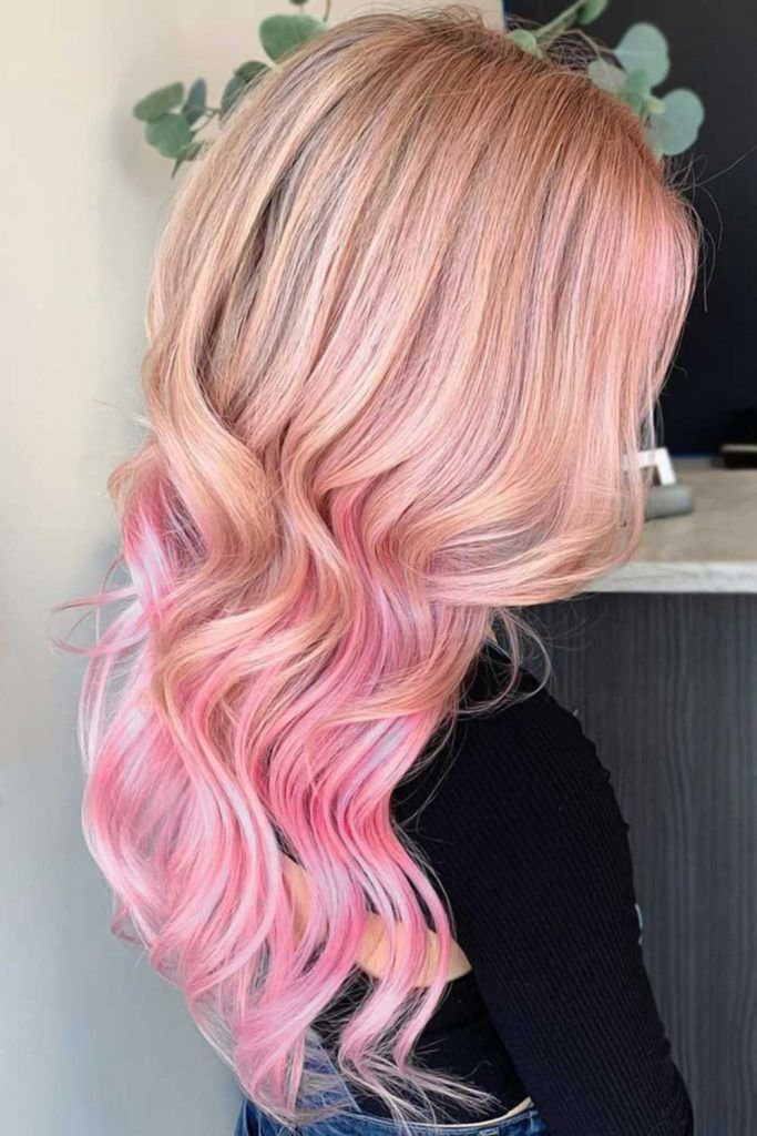 Fancy Pink Highlights Underneath Hair #pinkhair #pastelpinkhair