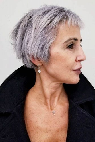 Long Straight Pixie With Baby Bangs #pixiehaircuts #haircuts #hairstylesforwomenover50 #shorthaircutsforwomenover50