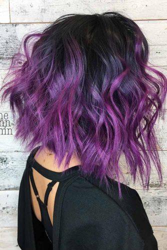 Angled Bob With Purple Balayage Highlights #purplehighlights #highlights #haircolor #wavyhair #longbob