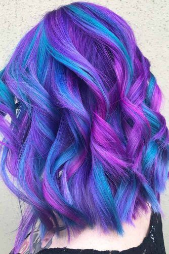 Trendy Blue And Purple Highlights #purplehighlights #highlights #haircolor
