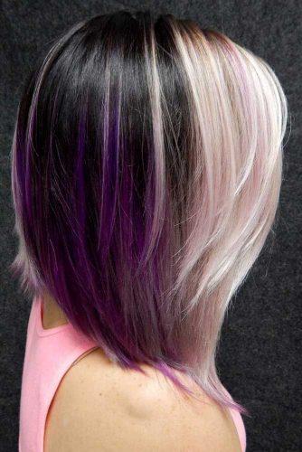 Dark And Light Contrasts Never Fail #purplehighlights #highlights #haircolor #straighthair #longbob