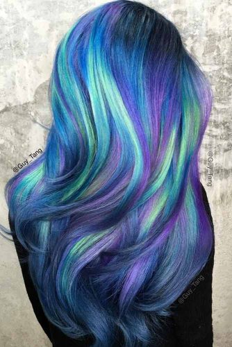 Long Layered Hair With Purple And Green Highlights #purplehighlights #highlights #haircolor #straighthair #longhair