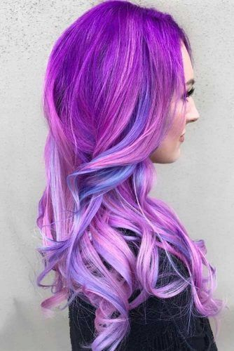 The Brighter Highlights You Wear The Better #purplehighlights #highlights #haircolor #wavyhair #longhair