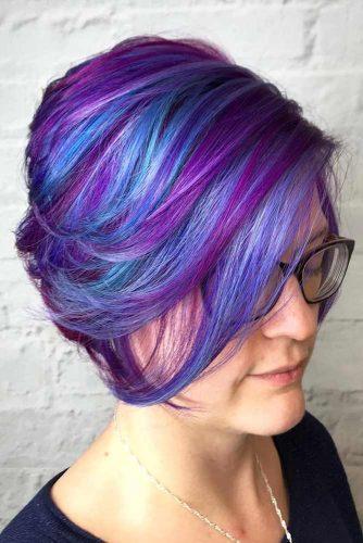 Purple Highlights For Short Hair  #purplehighlights #highlights #haircolor #straighthair #pixiecut