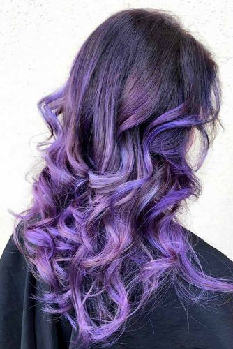 All The Cute Purple Highlights Rolled Into One #purplehighlights #highlights #haircolor #wavyhair
