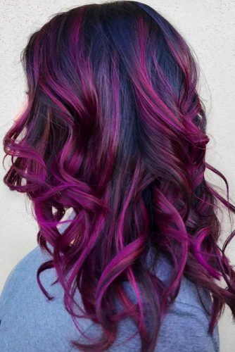 Saturated Dark Purple Shade #purplehighlights #highlights #haircolor #wavyhair