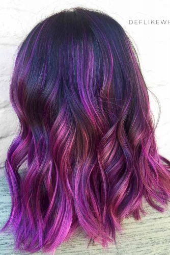 Purple To Rose Highlights On Dark Hair #purplehighlights #highlights #haircolor #wavyhair #mediumhair