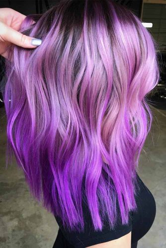 Light Purple Hues For Long Hair #purplehighlights #highlights #haircolor #hairstyles #longhair