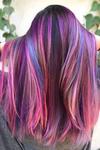 Straight Long Hairstyle With Multicolored Highlights  #purplehighlights #highlights #haircolor #straighthair #longhair