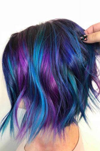 Purple Highlights For Wavy Lob #purplehighlights #highlights #haircolor #wavyhair #longbob