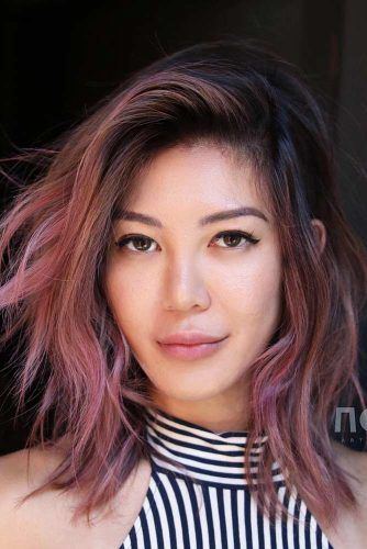 Pink Shag With Dark Roots #shaghairstyles #shaghaircuts #mediumlength #hairstyles