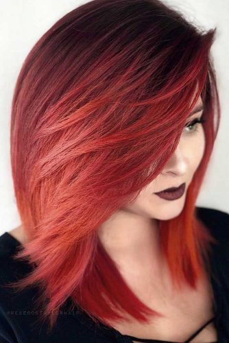 Every Day Is A New Styling Day #sidesweptbangs #redhair #longbob