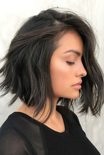 Voluminous Air Dried A line Lob  #straighthair #hairtype #hairstyles #bobhaircut #brunettehair