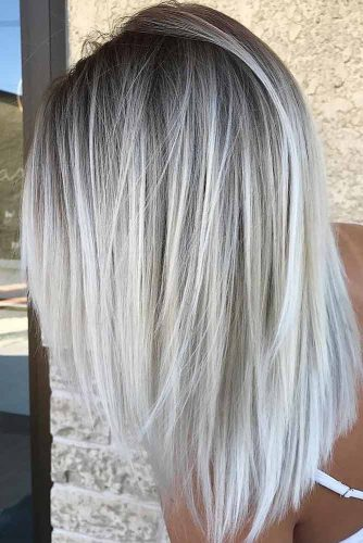 Icy Blonde Balayage With Deep Grey Roots For Long Hair #straighthair #hairtype #hairstyles #longhair #icyblondebalayage