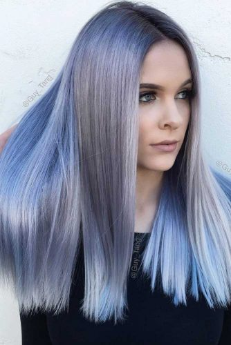 Silky And Enviable Icy Blue Hair Color #straighthair #hairtype #hairstyles #longhair #icybluehair