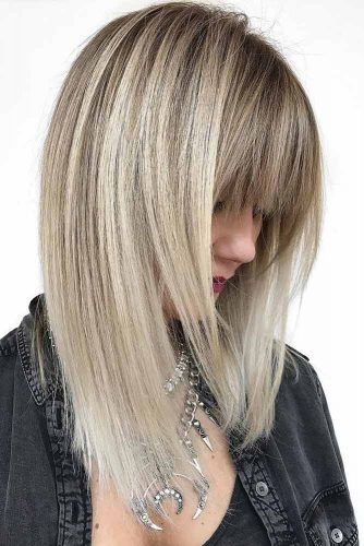 Embellish Your Straight Hair With Bangs #straighthair #hairtype #hairstyles #mediumlength #blondehighlights