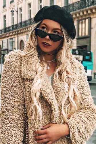 Wavy Double Braids Style With Cat-Eye Sunglasses #blondehair #messyhair #braids #sunglasses