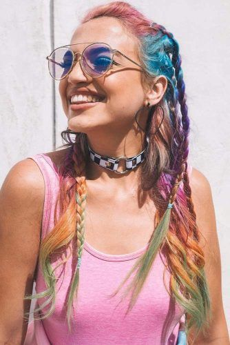 Messy Braided Style With Aviator Sunglasses #braids