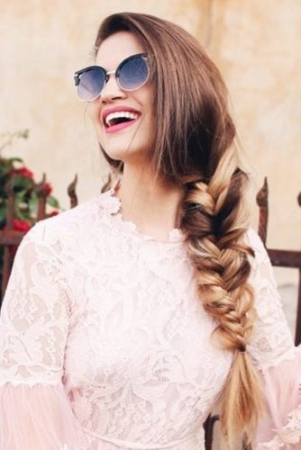 Side Fishtail Braid With Browline Sunglasses #longhair #braids #sunglasses