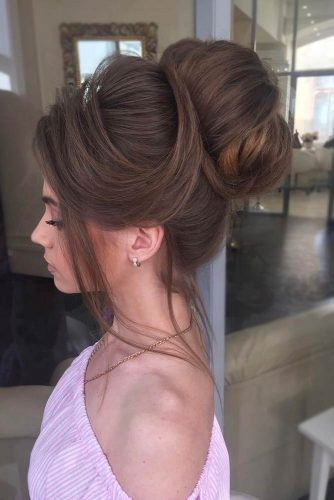 A Charming High Bun #weddingupdo #weddinghair #highbun