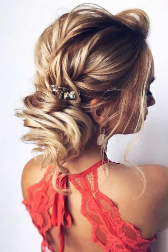 Low Messy Bun With Accessories #weddingupdo #weddinghair #hairstyles #lowbun #hairaccessories