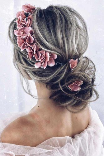 Voluminous Low Bun With Accessories #weddingupdo #weddinghair #hairstyles #lowbun #hairaccessories