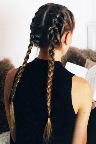 French Braids With Long Hair #longhair #brunette #braids