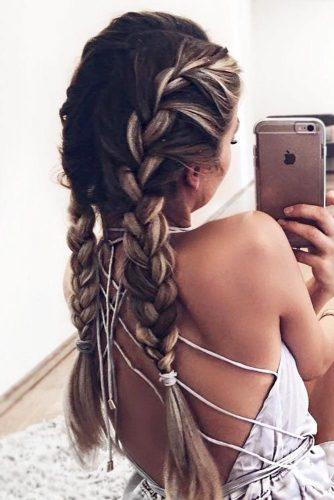 Messy Double Braids #longhair #brunette #braids