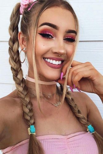 A Playful Two Braids Hairstyle #blondehair #braids #ponytails