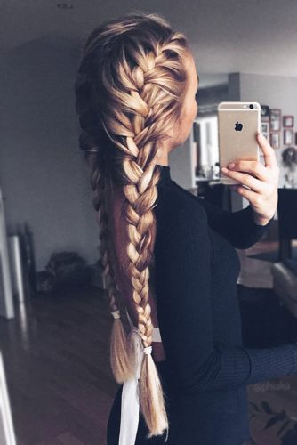 French Braids With Hair Bands #longhair #braids