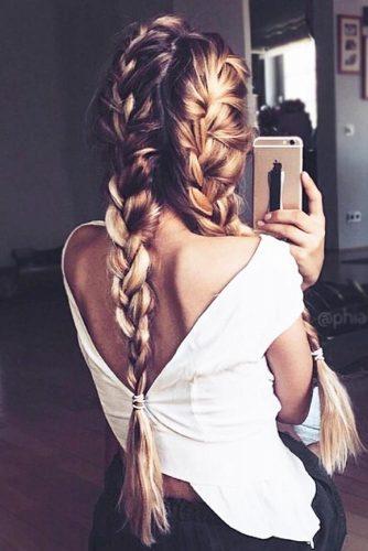 French Braids With Blonde Balayage #brunette #balayage #braids