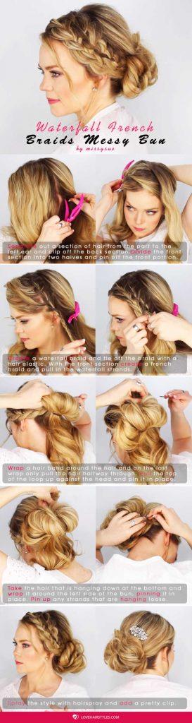 An Easy Tutorial On How To Get A Waterfall French Braid Messy Bun #braids #hairtutorial #bun