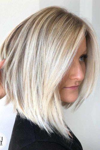 Blonde Straight Asymmetrical Bob #asymmetricalhaircut #haicuts #bobhaircut #shorthair