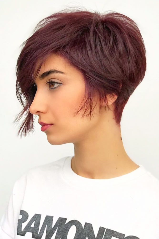 Burgundy Layered Pixie #asymmetricalpixie #shorthair #pixiehaircut #haircuts