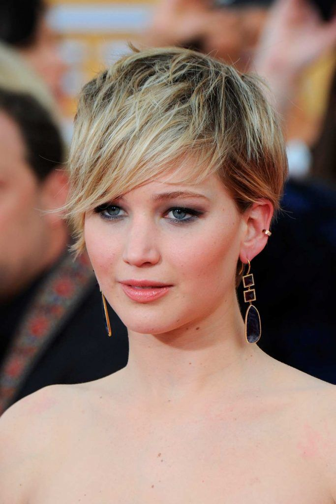 Shaggy Asymmetrical Pixie Cut With Long Side Bang By Jennifer Lawrence