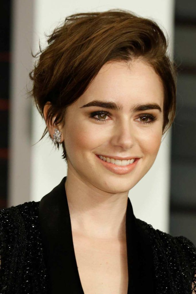 Asymmetrical Pixie For Thin Black Hair by Lily Collins