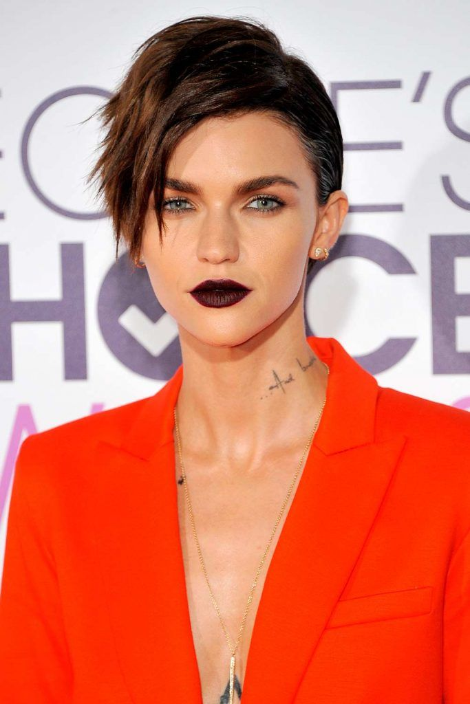 Voluminous Asymmetrical Pixie Cut With Deep Side Part By Ruby Rose