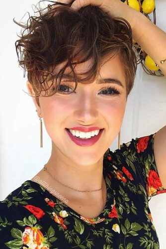 Extreme Short Pixie For Curly Hair #asymmetricalpixie #shorthair #pixiehaircut #haircuts #brownhair