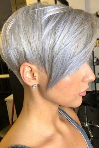 Silver Layered Straight Pixie #asymmetricalpixie #shorthair #pixiehaircut #haircuts