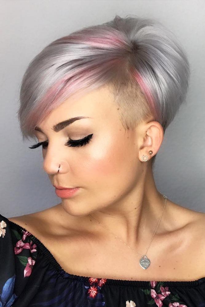 Tapered Coif Haircut With Undercut #asymmetricalpixie #shorthair #pixiehaircut #haircuts #silverhair
