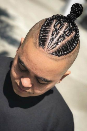 Braided Bun And Bald Fade #fadehaircut #baldfade #skinfade #haircuts #menhaircuts