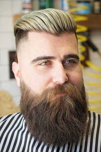Fade Haircut With Slicked Back Blonde Top #fadehaircut #fullbeard #styledback #menshaircuts