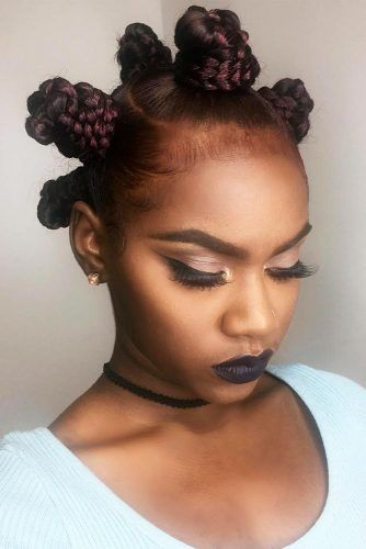 Bantu Knots With Burgundy Highlights #bantuknots #hairtype #naturalhair #hairstyles